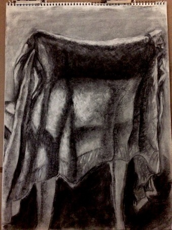 charcoal drawing in progress